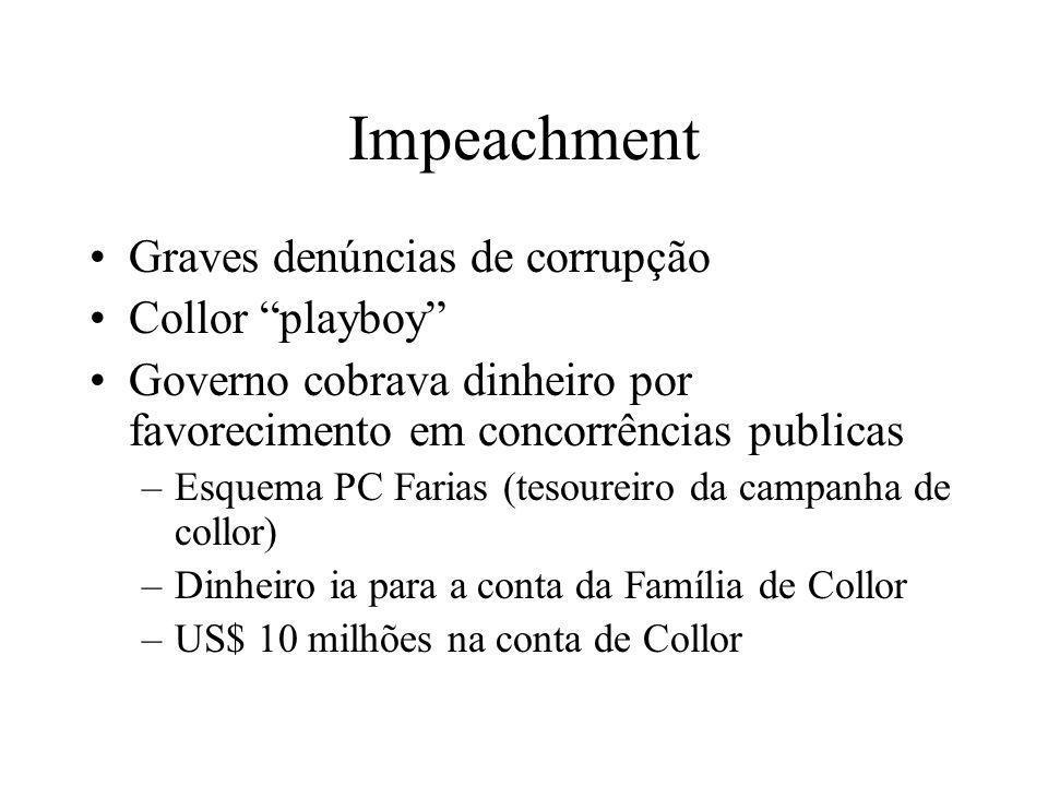 Impeachment Graves denúncias de corrupção Collor playboy Governo cobrava dinheiro por favorecimento em concorrências publicas –Esquema PC Farias (teso