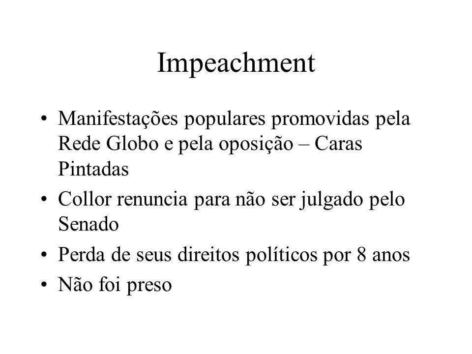 Impeachment Manifestações populares promovidas pela Rede Globo e pela oposição – Caras Pintadas Collor renuncia para não ser julgado pelo Senado Perda