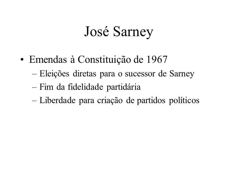 José Sarney Emendas à Constituição de 1967 –Eleições diretas para o sucessor de Sarney –Fim da fidelidade partidária –Liberdade para criação de partid