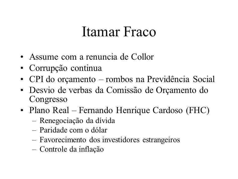 Itamar Fraco Assume com a renuncia de Collor Corrupção continua CPI do orçamento – rombos na Previdência Social Desvio de verbas da Comissão de Orçame