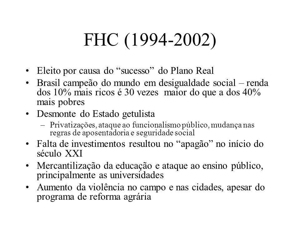 FHC (1994-2002) Eleito por causa do sucesso do Plano Real Brasil campeão do mundo em desigualdade social – renda dos 10% mais ricos é 30 vezes maior d