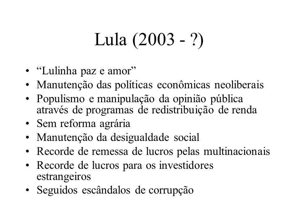 Lula (2003 - ?) Lulinha paz e amor Manutenção das políticas econômicas neoliberais Populismo e manipulação da opinião pública através de programas de