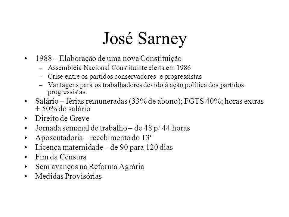 José Sarney 1988 – Elaboração de uma nova Constituição –Assembléia Nacional Constituinte eleita em 1986 –Crise entre os partidos conservadores e progr