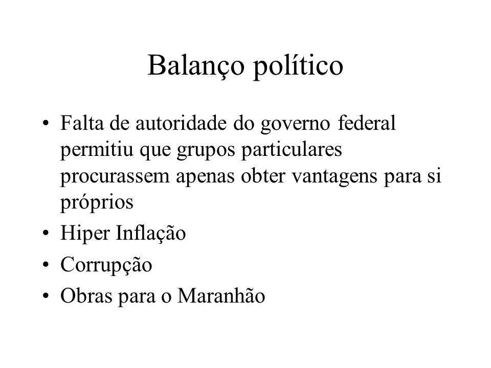 Balanço político Falta de autoridade do governo federal permitiu que grupos particulares procurassem apenas obter vantagens para si próprios Hiper Inf