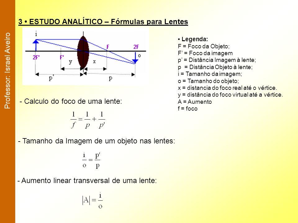 3 ESTUDO ANALÍTICO – Fórmulas para Lentes - Calculo do foco de uma lente: - Tamanho da Imagem de um objeto nas lentes: - Aumento linear transversal de
