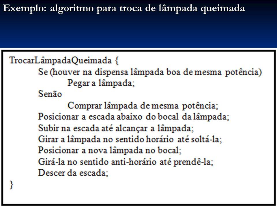 Exemplo: algoritmo para troca de lâmpada queimada