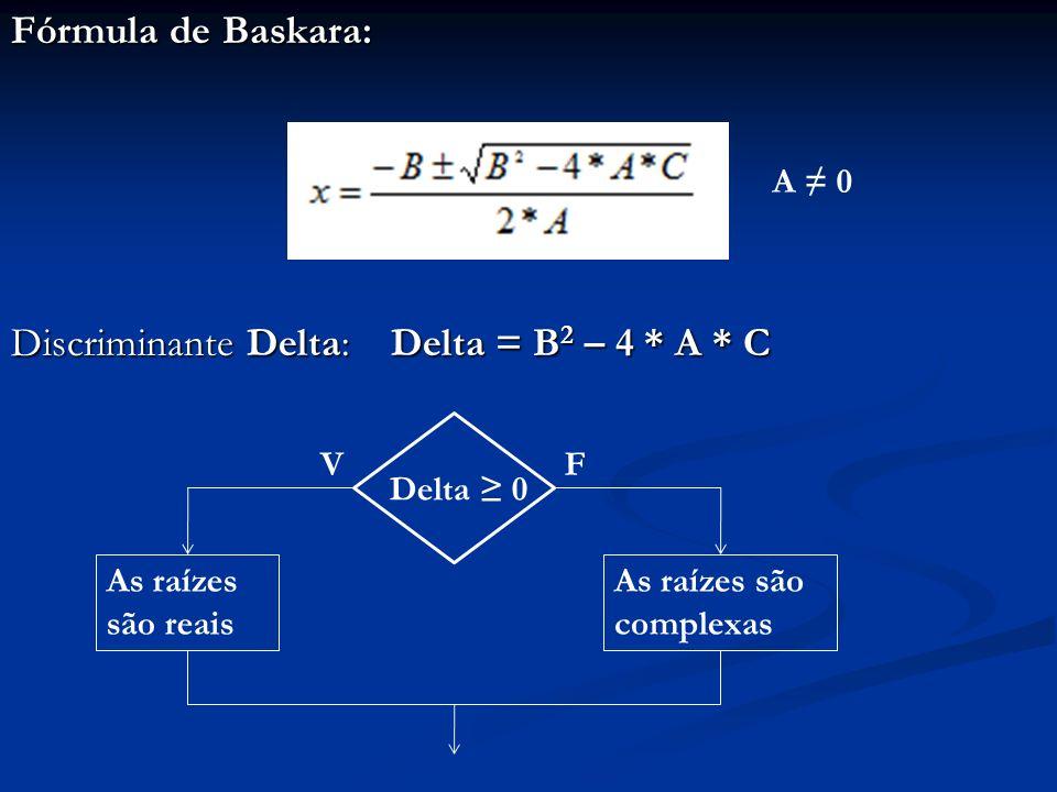 Fórmula de Baskara: Discriminante Delta: Delta = B 2 – 4 * A * C A 0 Delta 0 As raízes são reais As raízes são complexas VF