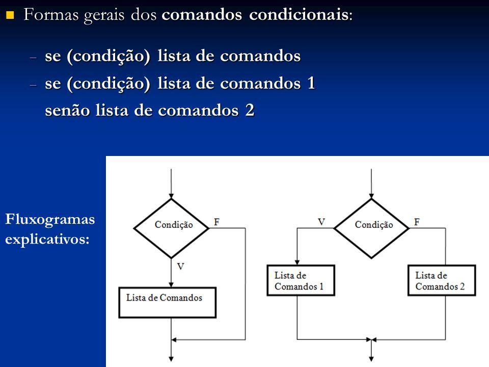 Formas gerais dos comandos condicionais: Formas gerais dos comandos condicionais: se (condição) lista de comandos se (condição) lista de comandos se (