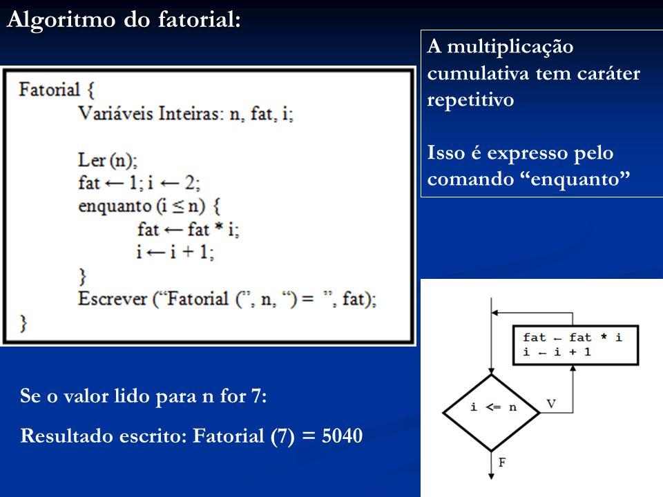 Algoritmo do fatorial: A multiplicação cumulativa tem caráter repetitivo Isso é expresso pelo comando enquanto Se o valor lido para n for 7: Resultado