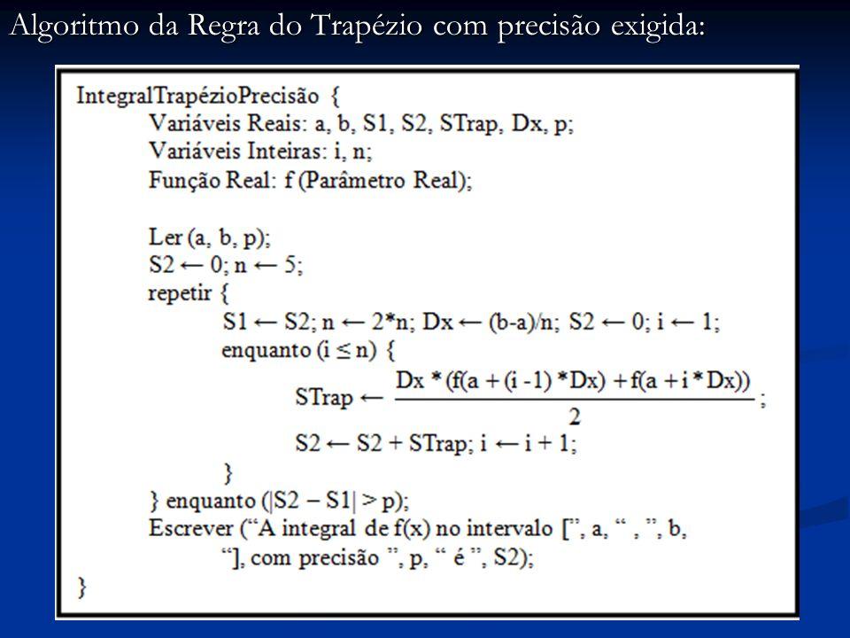 Algoritmo da Regra do Trapézio com precisão exigida: