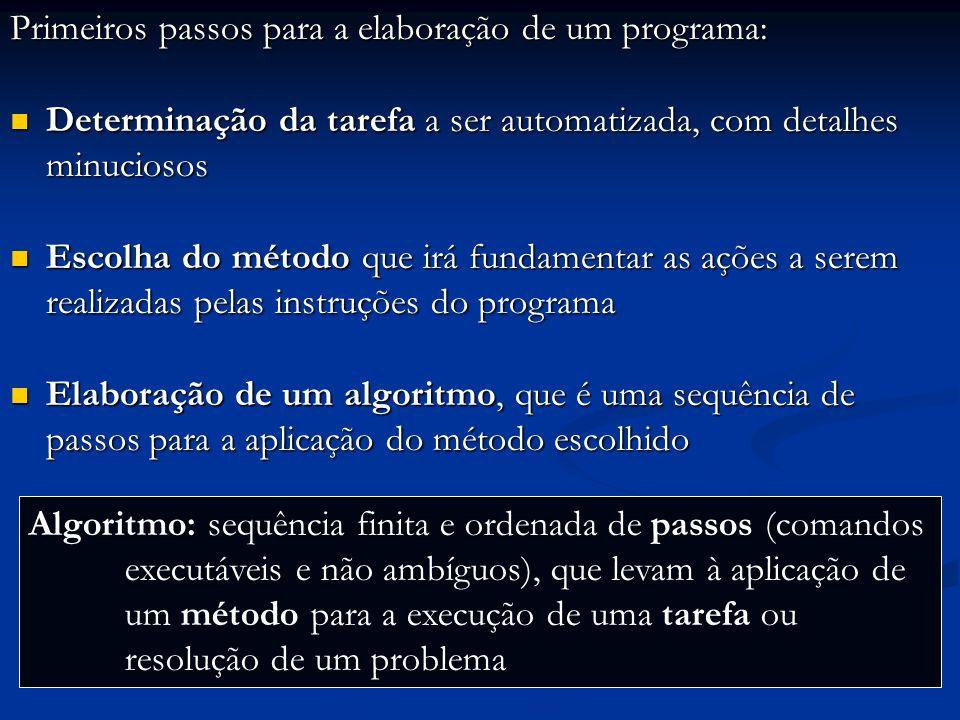 Primeiros passos para a elaboração de um programa: Determinação da tarefa a ser automatizada, com detalhes minuciosos Determinação da tarefa a ser automatizada, com detalhes minuciosos Escolha do método que irá fundamentar as ações a serem realizadas pelas instruções do programa Escolha do método que irá fundamentar as ações a serem realizadas pelas instruções do programa Elaboração de um algoritmo, que é uma sequência de passos para a aplicação do método escolhido Elaboração de um algoritmo, que é uma sequência de passos para a aplicação do método escolhido Elaboração do programa, que é a tradução do algoritmo para a linguagem de programação escolhida Elaboração do programa, que é a tradução do algoritmo para a linguagem de programação escolhida