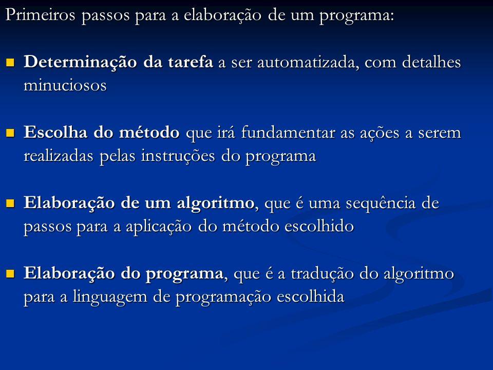 Primeiros passos para a elaboração de um programa: Determinação da tarefa a ser automatizada, com detalhes minuciosos Determinação da tarefa a ser aut
