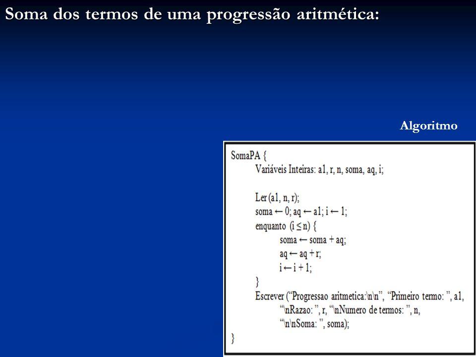 Soma dos termos de uma progressão aritmética: Algoritmo