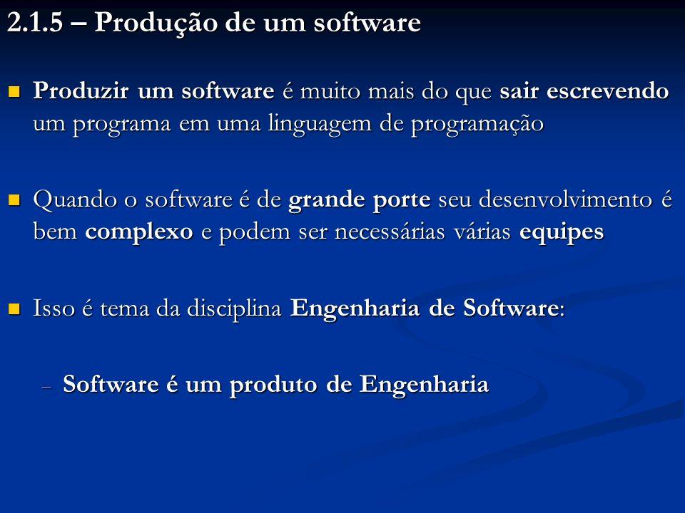 2.1.5 – Produção de um software Produzir um software é muito mais do que sair escrevendo um programa em uma linguagem de programação Produzir um softw