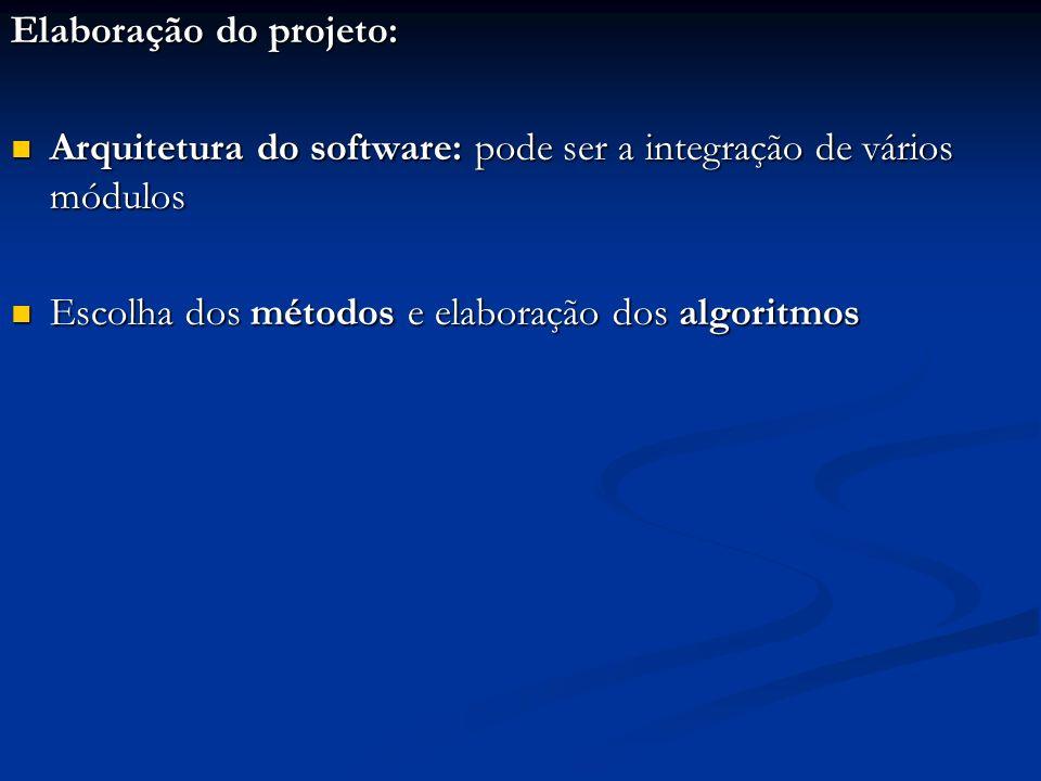 Elaboração do projeto: Arquitetura do software: pode ser a integração de vários módulos Arquitetura do software: pode ser a integração de vários módul