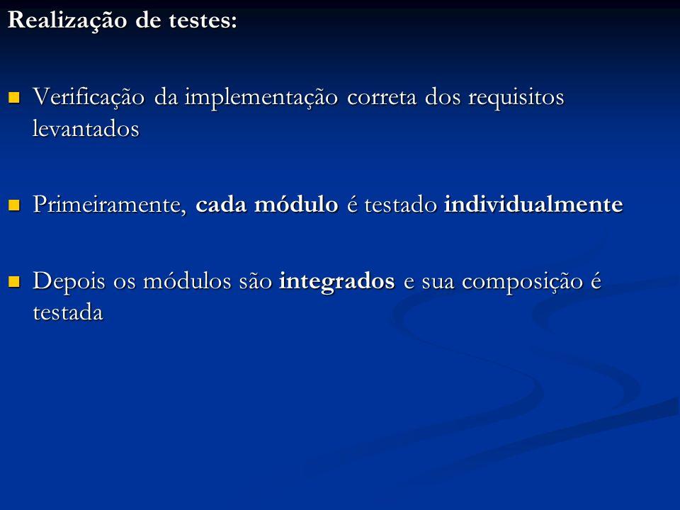 Realização de testes: Verificação da implementação correta dos requisitos levantados Verificação da implementação correta dos requisitos levantados Pr