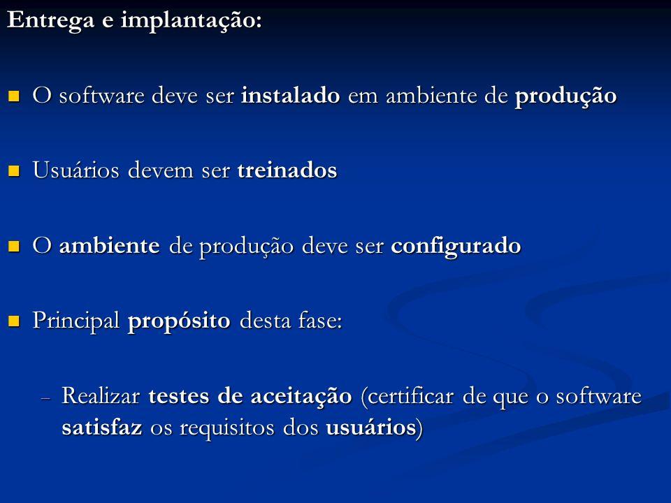 Entrega e implantação: O software deve ser instalado em ambiente de produção O software deve ser instalado em ambiente de produção Usuários devem ser