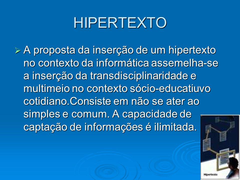HIPERTEXTO A proposta da inserção de um hipertexto no contexto da informática assemelha-se a inserção da transdisciplinaridade e multimeio no contexto
