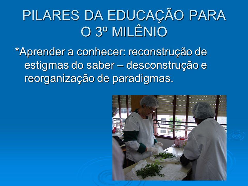 PILARES DA EDUCAÇÃO PARA O 3º MILÊNIO *Aprender a conhecer: reconstrução de estigmas do saber – desconstrução e reorganização de paradigmas.