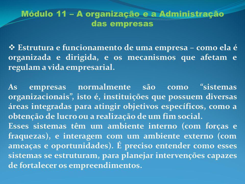 Módulo 11 – A organização e a Administração das empresas Estrutura e funcionamento de uma empresa – como ela é organizada e dirigida, e os mecanismos