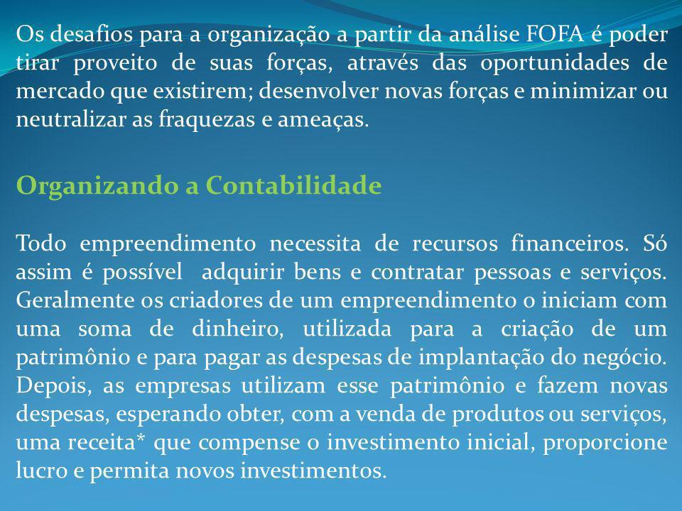 Os desafios para a organização a partir da análise FOFA é poder tirar proveito de suas forças, através das oportunidades de mercado que existirem; des