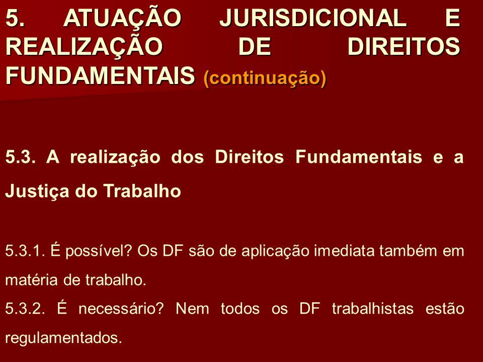 5. ATUAÇÃO JURISDICIONAL E REALIZAÇÃO DE DIREITOS FUNDAMENTAIS (continuação) 5.3. A realização dos Direitos Fundamentais e a Justiça do Trabalho 5.3.1