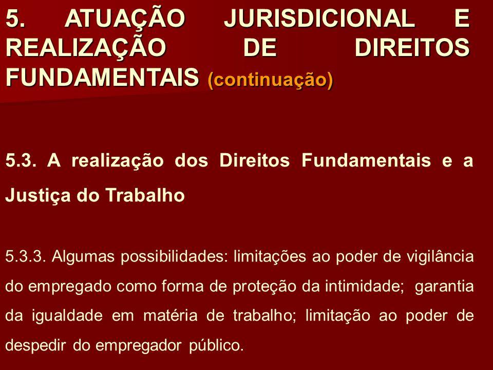 5. ATUAÇÃO JURISDICIONAL E REALIZAÇÃO DE DIREITOS FUNDAMENTAIS (continuação) 5.3. A realização dos Direitos Fundamentais e a Justiça do Trabalho 5.3.3