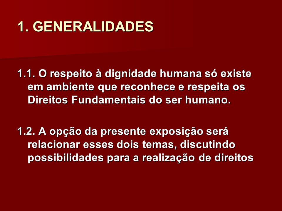 1. GENERALIDADES 1.1. O respeito à dignidade humana só existe em ambiente que reconhece e respeita os Direitos Fundamentais do ser humano. 1.2. A opçã