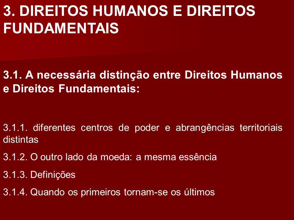 3. DIREITOS HUMANOS E DIREITOS FUNDAMENTAIS 3.1. A necessária distinção entre Direitos Humanos e Direitos Fundamentais: 3.1.1. diferentes centros de p