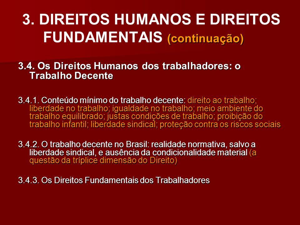 (continuação) 3. DIREITOS HUMANOS E DIREITOS FUNDAMENTAIS (continuação) 3.4. Os Direitos Humanos dos trabalhadores: o Trabalho Decente 3.4.1. Conteúdo