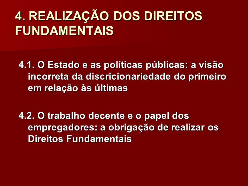 4. REALIZAÇÃO DOS DIREITOS FUNDAMENTAIS 4.1. O Estado e as políticas públicas: a visão incorreta da discricionariedade do primeiro em relação às últim