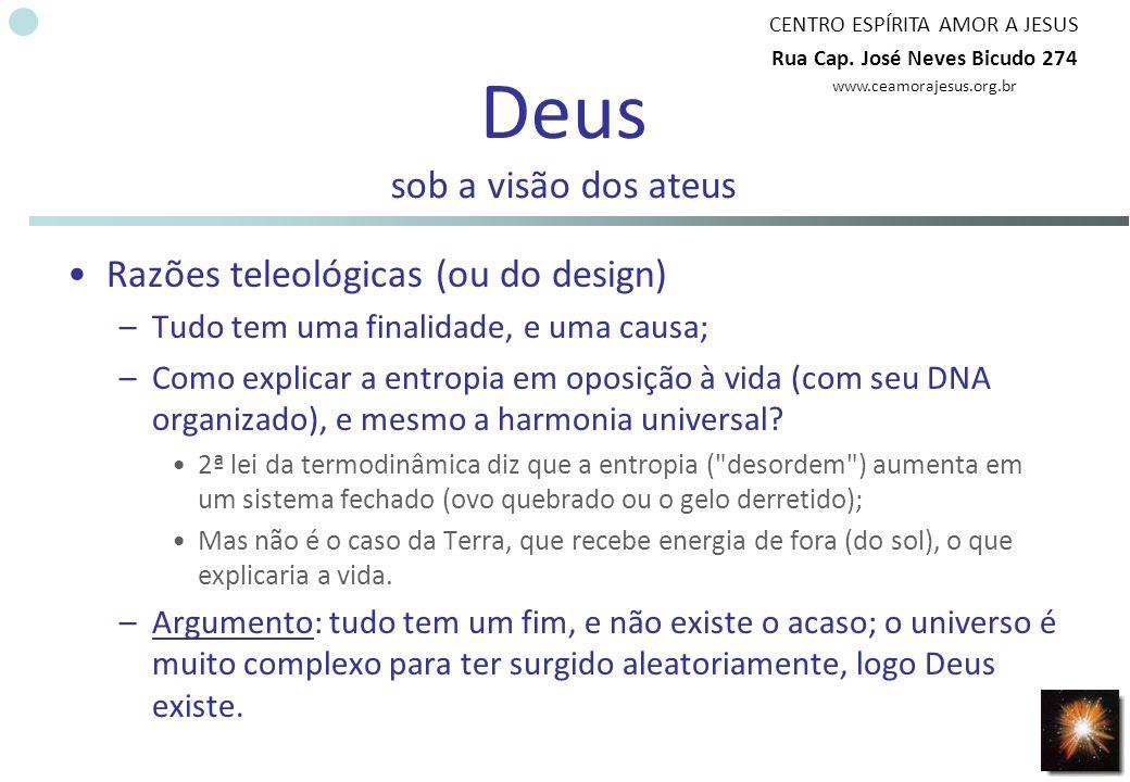 CENTRO ESPÍRITA AMOR A JESUS Rua Cap. José Neves Bicudo 274 www.ceamorajesus.org.br Deus sob a visão dos ateus Razões teleológicas (ou do design) –Tud