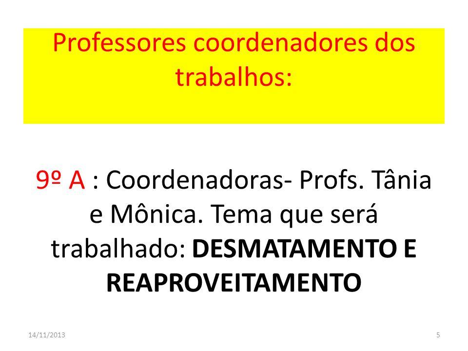 5 Professores coordenadores dos trabalhos: 9º A : Coordenadoras- Profs. Tânia e Mônica. Tema que será trabalhado: DESMATAMENTO E REAPROVEITAMENTO