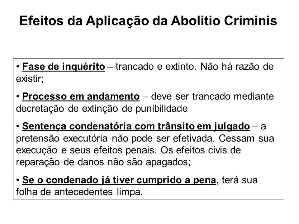 Efeitos da Aplicação da Abolitio Criminis Fase de inquérito – trancado e extinto. Não há razão de existir; Processo em andamento – deve ser trancado m