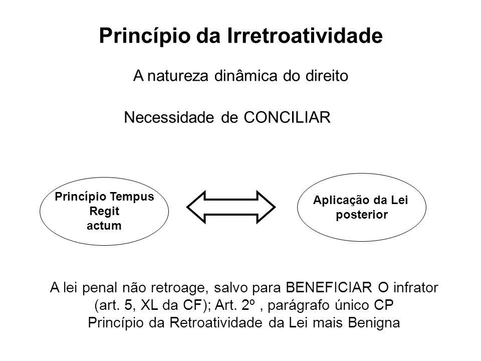Princípio da Irretroatividade Princípio Tempus Regit actum Aplicação da Lei posterior A lei penal não retroage, salvo para BENEFICIAR O infrator (art.