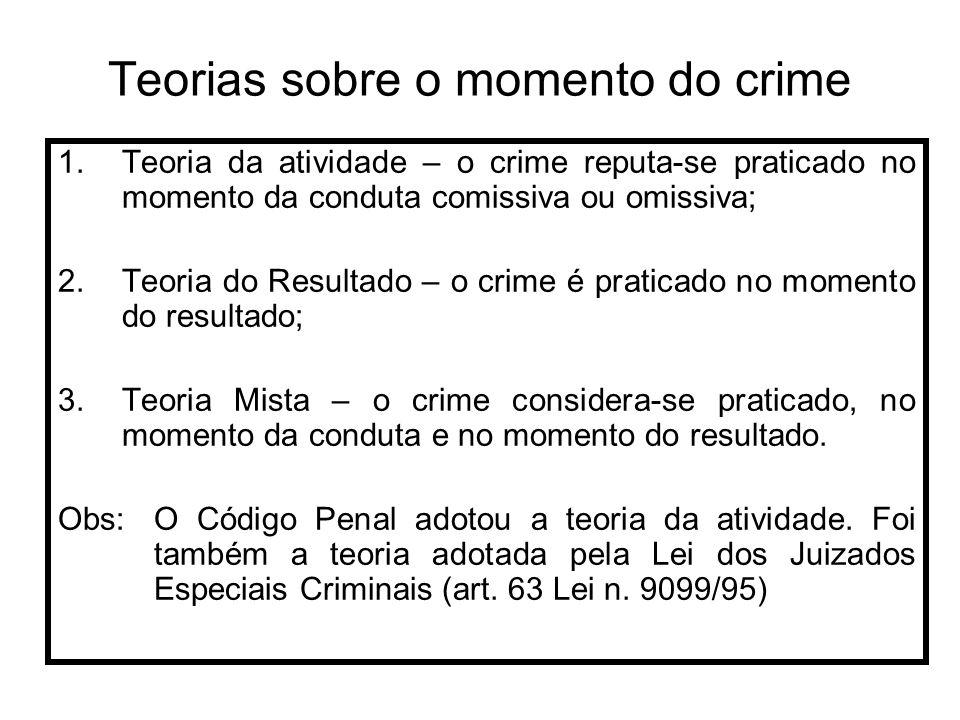 Teorias sobre o momento do crime 1.Teoria da atividade – o crime reputa-se praticado no momento da conduta comissiva ou omissiva; 2.Teoria do Resultad