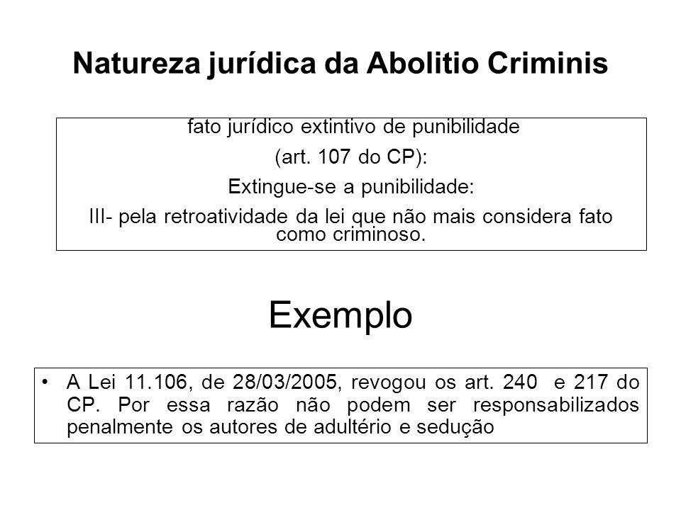 Exemplo A Lei 11.106, de 28/03/2005, revogou os art. 240 e 217 do CP. Por essa razão não podem ser responsabilizados penalmente os autores de adultéri