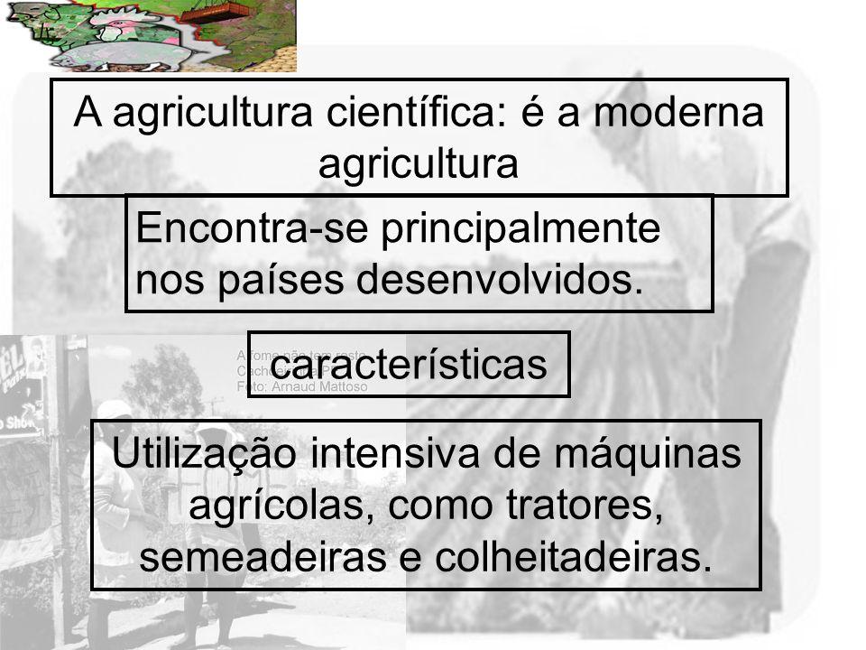 Prof. Wilton Oliveira A agricultura científica: é a moderna agricultura Encontra-se principalmente nos países desenvolvidos. Utilização intensiva de m