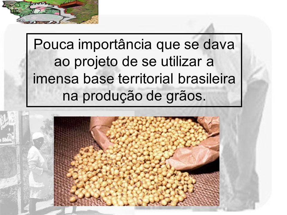 Prof. Wilton Oliveira Pouca importância que se dava ao projeto de se utilizar a imensa base territorial brasileira na produção de grãos.