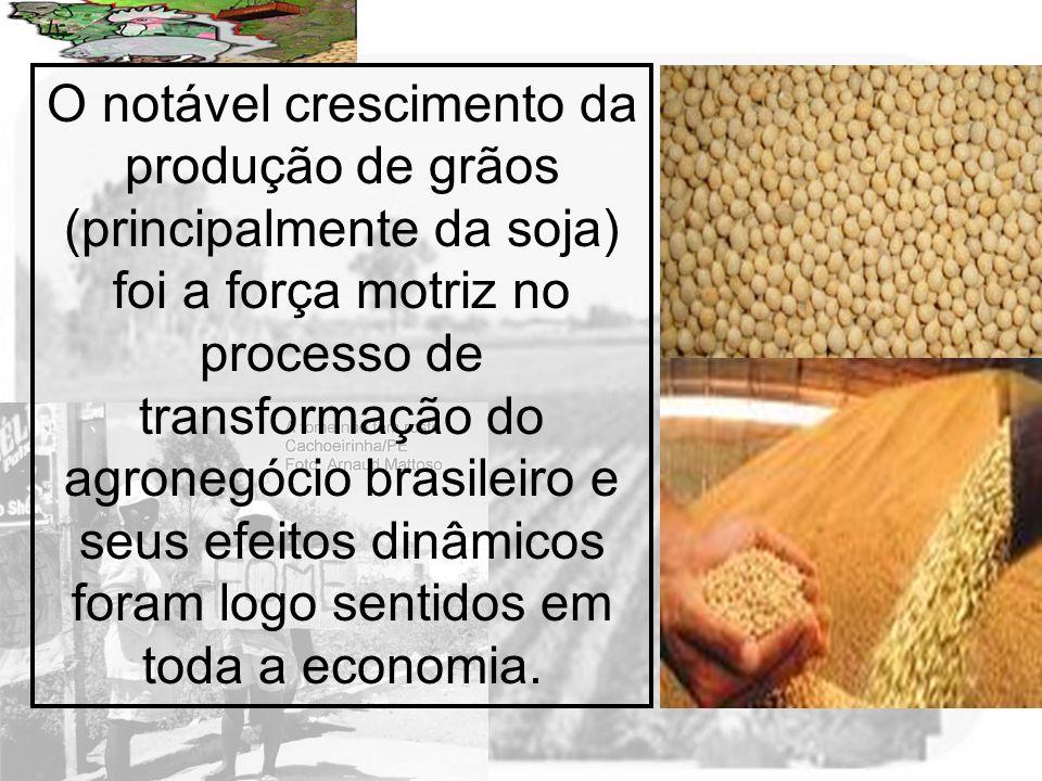 Prof. Wilton Oliveira O notável crescimento da produção de grãos (principalmente da soja) foi a força motriz no processo de transformação do agronegóc