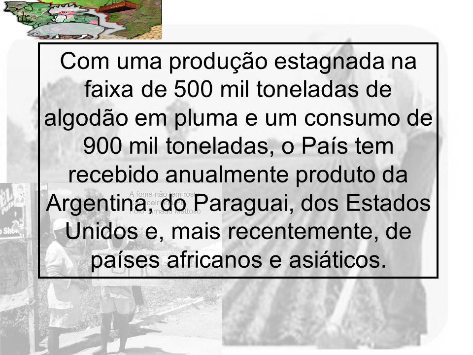 Prof. Wilton Oliveira Com uma produção estagnada na faixa de 500 mil toneladas de algodão em pluma e um consumo de 900 mil toneladas, o País tem receb
