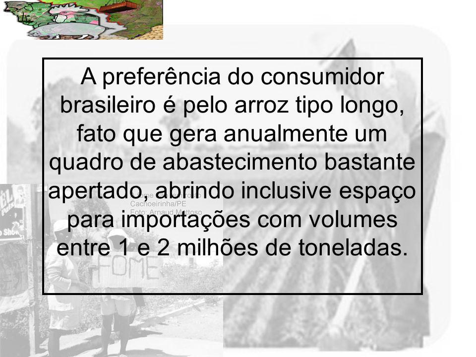 Prof. Wilton Oliveira A preferência do consumidor brasileiro é pelo arroz tipo longo, fato que gera anualmente um quadro de abastecimento bastante ape