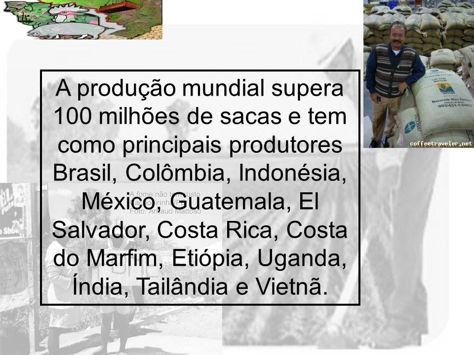 Prof. Wilton Oliveira A produção mundial supera 100 milhões de sacas e tem como principais produtores Brasil, Colômbia, Indonésia, México, Guatemala,