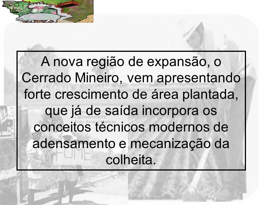 Prof. Wilton Oliveira A nova região de expansão, o Cerrado Mineiro, vem apresentando forte crescimento de área plantada, que já de saída incorpora os