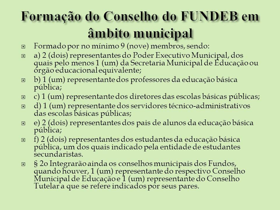 Formado por no mínimo 9 (nove) membros, sendo: a) 2 (dois) representantes do Poder Executivo Municipal, dos quais pelo menos 1 (um) da Secretaria Muni