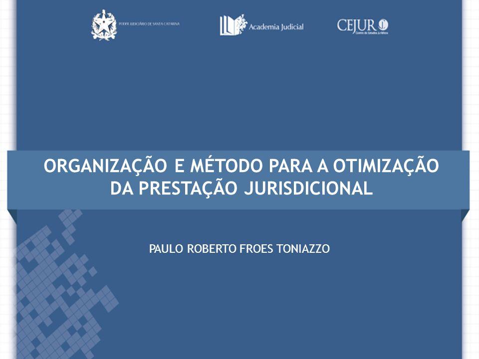 ORGANIZAÇÃO E MÉTODO PARA A OTIMIZAÇÃO DA PRESTAÇÃO JURISDICIONAL PAULO ROBERTO FROES TONIAZZO