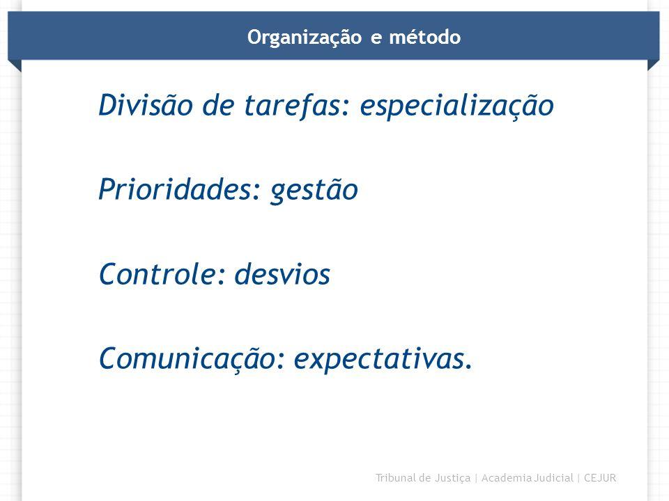 DIRETORIA Tribunal de Justiça | Academia Judicial | CEJUR Organização e método Divisão de tarefas: especialização Prioridades: gestão Controle: desvio