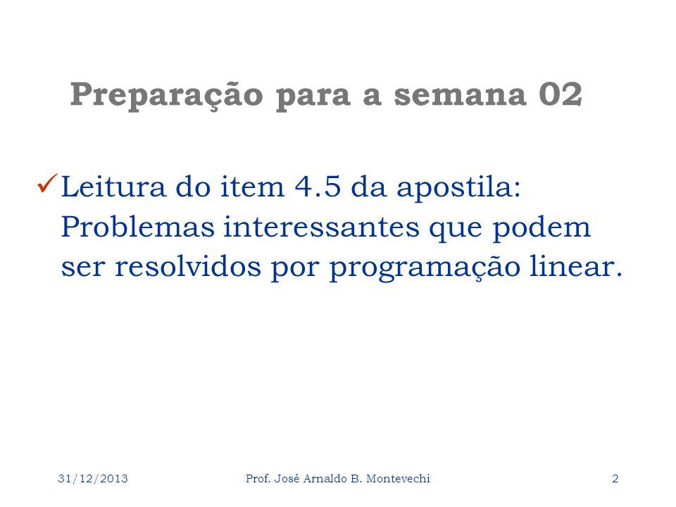 31/12/2013Prof. José Arnaldo B. Montevechi1 Pesquisa Operacional Universidade Federal de Itajubá Para fazer para a aula 03