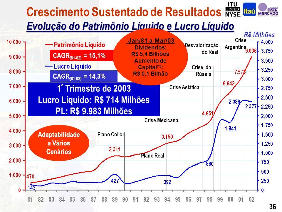 35 R$ Milhões CAGR (81-02) = 15,1% CAGR (81-02) = 14,3% Evolução do Patrimônio Líquido e Lucro Líquido Crescimento Sustentado de Resultados Evolução do Patrimônio Líquido e Lucro Líquido 1 º Trimestre de 2003 Lucro Líquido: R$ 714 Milhões PL: R$ 9.983 Milhões