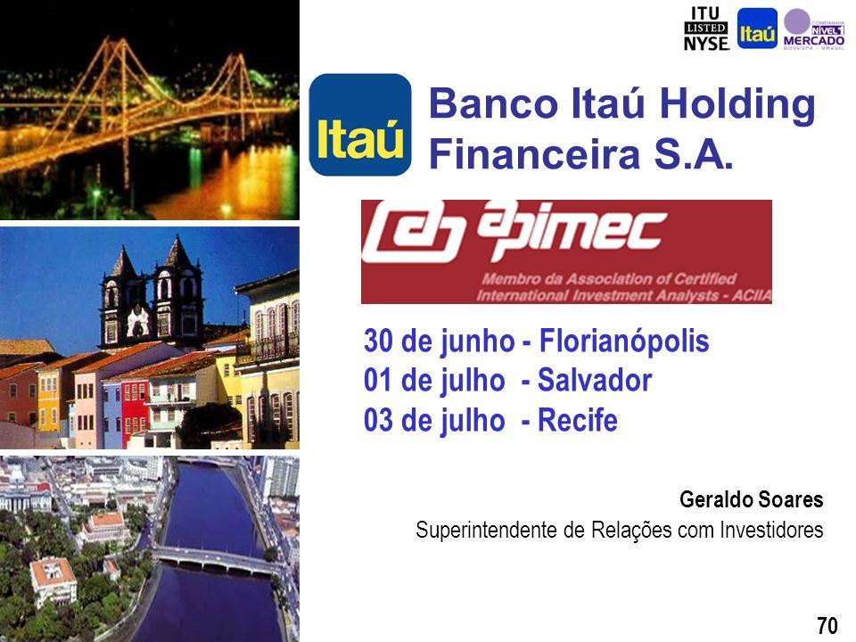 69 E-mail: relacoes.investidores@itau.com.br Website: www.itauri.com.br Esta Apresentação, as Demonstrações Financeiras e a Análise Gerencial da Operação do 1º trimestre de 2003 estão disponíveis no www.itauri.com.br